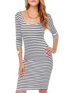 Scoop Neck Strip Backless Half Sleeve Dress - White And Black S