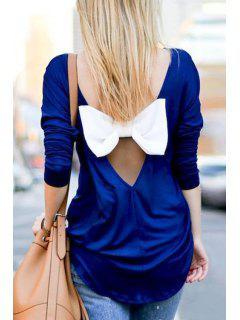 Back Bowknot Splicing Long Sleeve T-Shirt - Deep Blue Xl