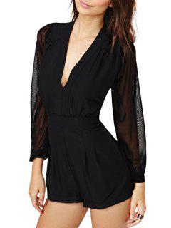 See-Through Voile Splicing Long Sleeve Romper - Black 2xl