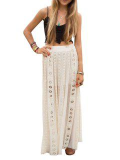 Black Spaghetti Strap Crop Top + White Hollow Out Skirt Twinset - White And Black Xl