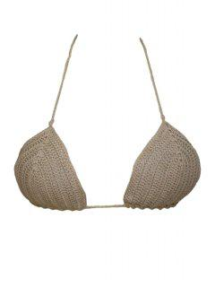 Crochet Solid Color Halter Crop Top - Khaki M