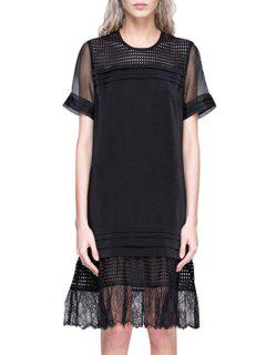 See-Through Volie Splicing Short Sleeve Dress - Black Xl