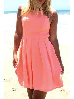 Crochet Flower Cut Out Ruffled Pink Dress - Pink M