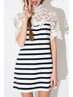 Crochet Flower Spliced Stand Neck Dress - Stripe Xl