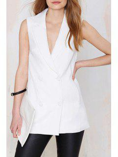 Lapel Double-Breasted Sleeveless Waistcoat - White L