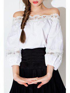 White Lace Spliced Slash Neck Blouse - White S