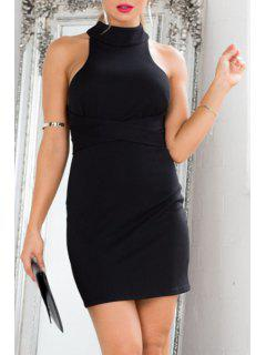 Black Tie-Up Backless Bodycon Dress - Black M