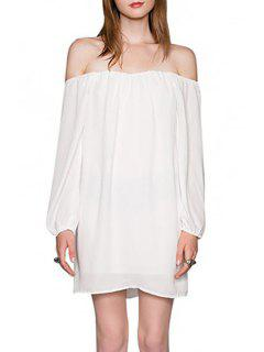 Solid Color Slash Neck Long Sleeve Dress - White Xl
