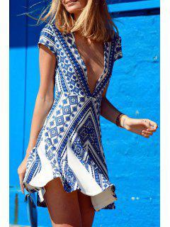 Vintage Print Blue Cap Sleeve Deep V Neck Dress - M