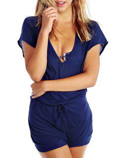 Blue V Neck Short Sleeve Drawstring Playsuit - Blue L