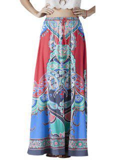 High-Waisted Printed Drawstring Long Skirt - L