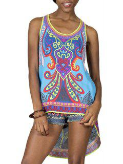 Abstract Print High-Low Hem Tank Top - Blue M