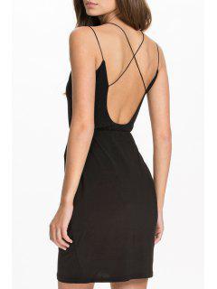 Spaghetti Strap Coss Voile Splicing Sleeveless Dress - Black 2xl