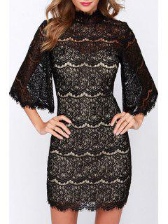 See-Through Lace Half Sleeve Dress - Black 2xl