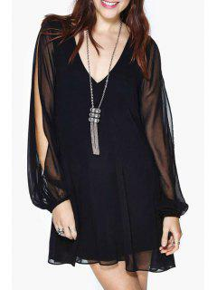 Solid Color Cut Out Layered Chiffon Dress - Black S