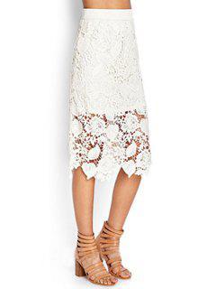 Crochet Flower Solid Color Lace Midi Skirt - White M