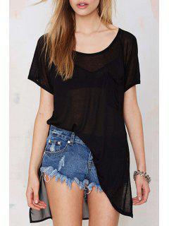 Black Chiffon Spliced Short Sleeve T-Shirt - Black 2xl