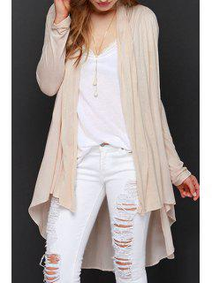 Solid Color Asymmetrical Long Sleeve Cardigan - Off-white 2xl