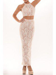 Halter Crop Top And Lace Bodycon Skirt Suit - Pink
