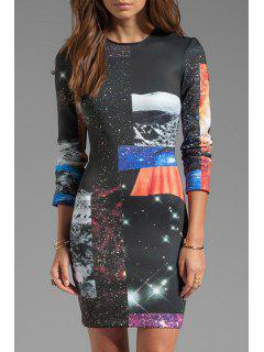 Galaxy Print 3/4 Sleeve Dress - Black L