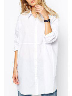 Polo Collar Solid Color Shirt Dress - White S