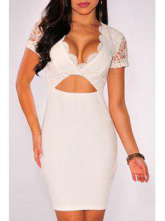 Lace Spliced Plunging Neck Short Sleeve Dress - White
