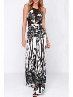 See-Through Black Print Sleeveless Jumpsuit - White L