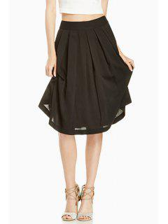 Solid Color A Line Midi Skirt - Black S