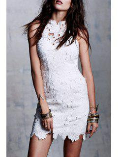 Solid Color Backless Packet Buttocks Lace Dress - White Xl