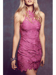 Solid Color Backless Packet Buttocks Lace Dress - Purplish Red S