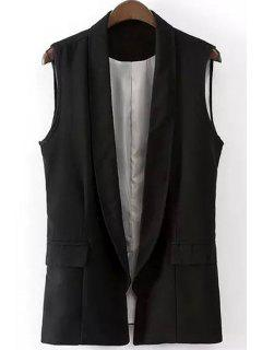 Shawl Collar Solid Color Waistcoat - Black S