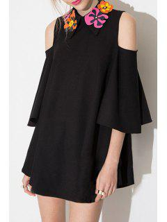 Black Loose-Fitting Hollow Dress - Black S