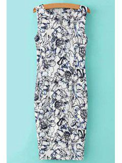 V-Neck Floral Pattern Sleeveless Dress - White And Black M