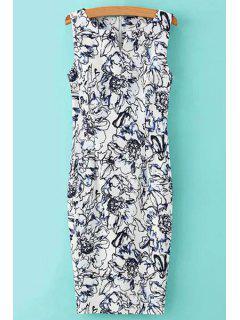 V-Neck Floral Pattern Sleeveless Dress - White And Black M
