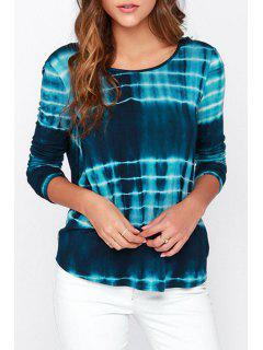 Tie-Dyed Stripes Open Bcck T-Shirt - Blue M
