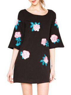 Rose Embroidery Loose-Fitting Dress - Black L