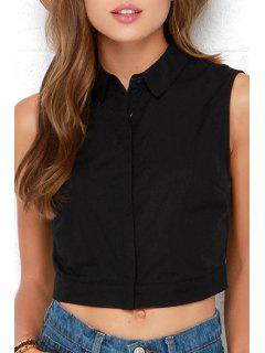 Solid Color Single-Breasted Cut Out Crop Top - Black S