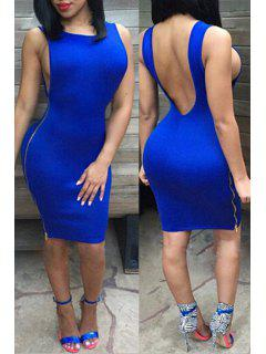 Jewel Neck Backless Solid Color Dress - Blue Xl
