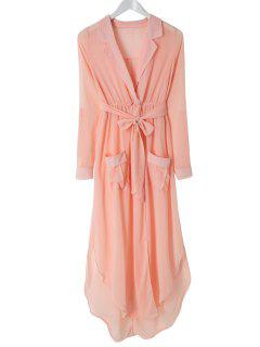 3/4 Sleeves Side Slit Asymmetrical Wrap Dress - Pink S