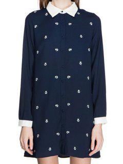 Star Embroidery Long Sleeve Shirt - Cadetblue L