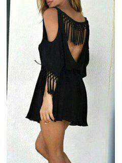 Backless Tassel Splicing Half Sleeve Dress - Black L