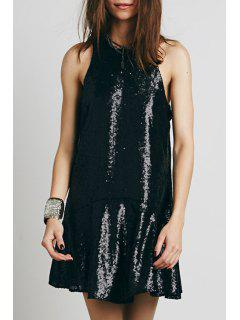 Sequined Open Back A-Line Club Dress - Black M
