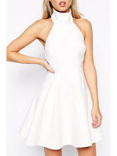Solid Color Backless Ruffled A-Line Dress - White S