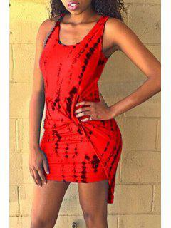 Scoop Neck Black Print Ruffle Sleeveless Dress - Red M