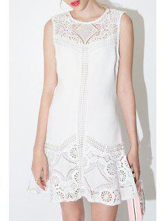 Lace Spliced A-Line White Dress - White Xl