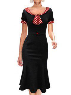 Red Black Polka Dot Short Sleeve Dress - Black L