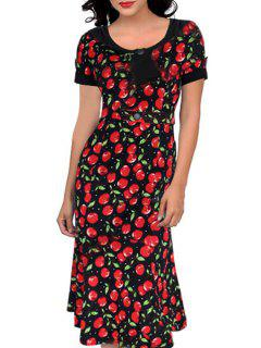 Scoop Neck Cherry Print Short Sleeve Dress - Red L
