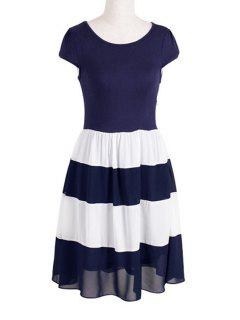 Chiffon Splicing Color Block Short Sleeve Dress - Purplish Blue S