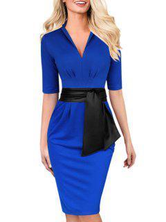 Bold Belt Delicate Ruched Design Half Sleeve Dress - Blue L