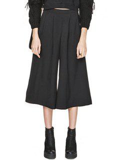 Black Wide Leg High Waisted Capri Pants - Black S